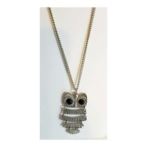 VINTAGE SILVER RETICULATED OWL PENDANT NECKLACE